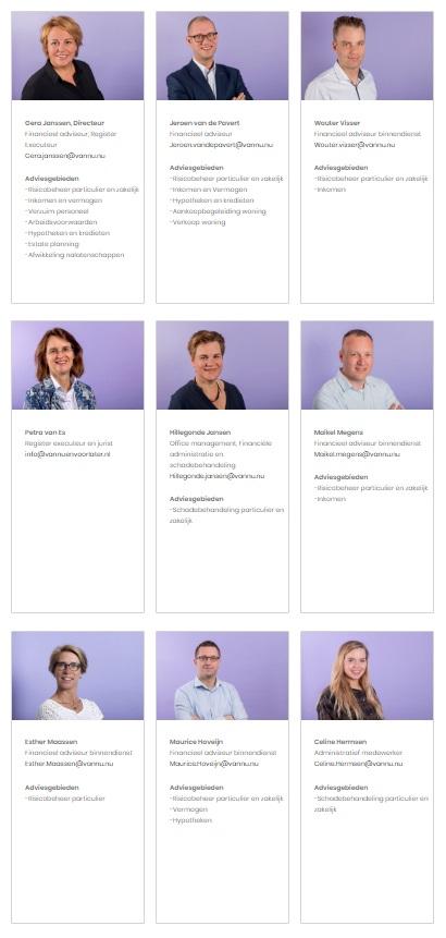 Profielfoto's medewerkers bedrijf Vannu